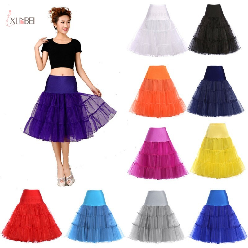 Rockabilly Tulle Hoopless Bridal Petticoat Crinolines Woman Underskirt Short Tutu Skirt Half Slips Wedding Accessories 2020