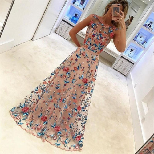 New Women Long Prom Lace dress Formal Evening Party Gowns embroidery dress princess sleeveless dress