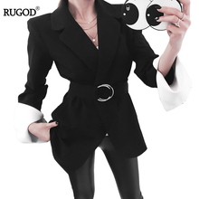 2018 New Women Elegant Office Business Work Blazer Coat Casual Belt with Ring Solid Slim Blazer
