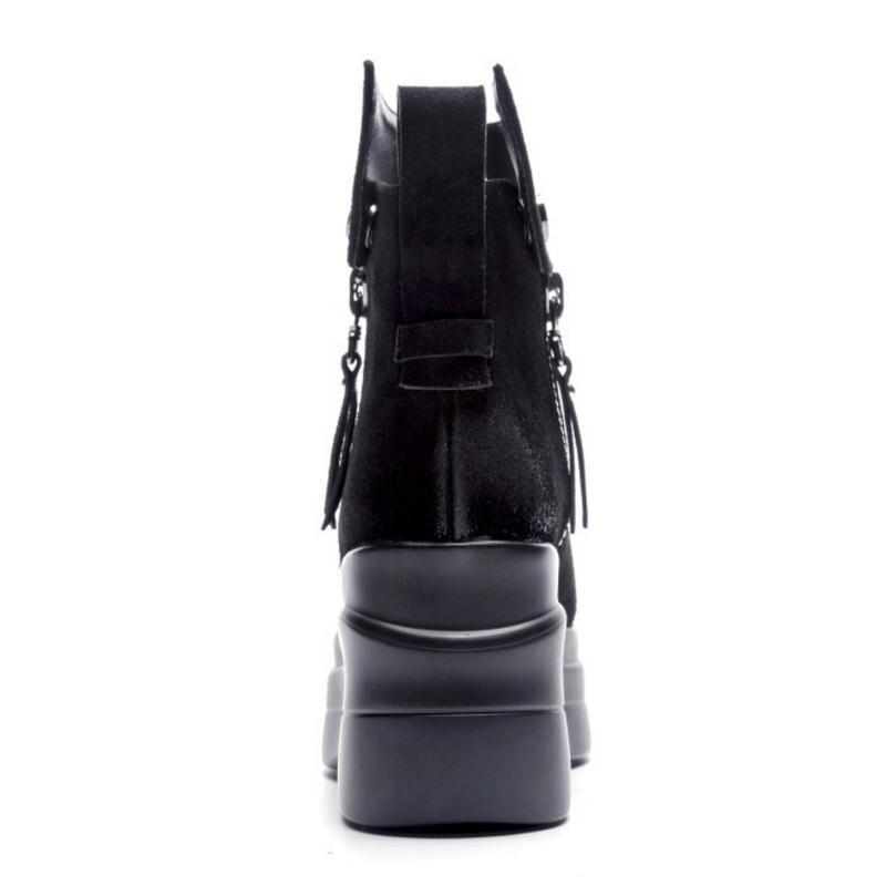39 34 Black Lateral Cremallera Tacón Tamaño Hebilla De black Alto Metal Mujer Plataforma Pantorrilla Fur Cloth Botas Cuero Coolcept Media Genuino Zapatos znTzaUq