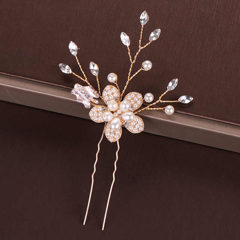 Or perle diadème épingle à cheveux pince cristal strass cheveux bijoux pour femmes fleur à la main bandeau mariage mariée cheveux accessoires