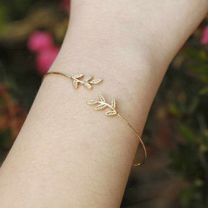 2019 New Leaves Opening Alloy Cuff Bracelets for Women Gold Silver Color Bracelets Female Jewelry