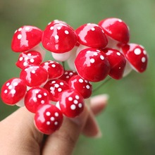 15pcsGarden decoration  Mini Red Mushroom Micro Fairy Garden Decor Ornament Bonsai DIY Craft Fashion