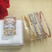 Женский браслет Багет godki 3 цвета суперблестящий с фианитом