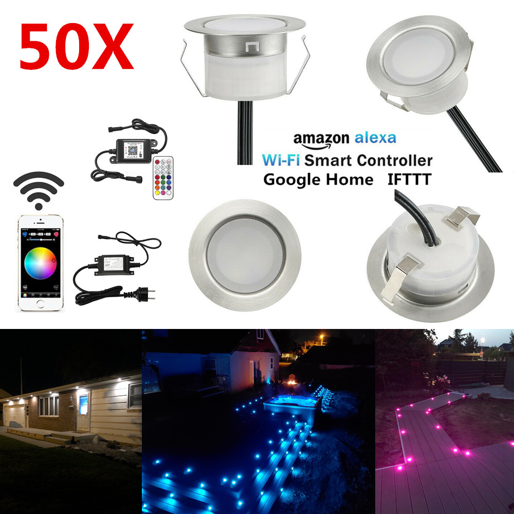 50PCS/lot WIFI APP Controller Timer Dimmer 45mm RGB RGBWW Changeable Terrace LED Deck Rail Stair Soffit Step Lights Waterproof