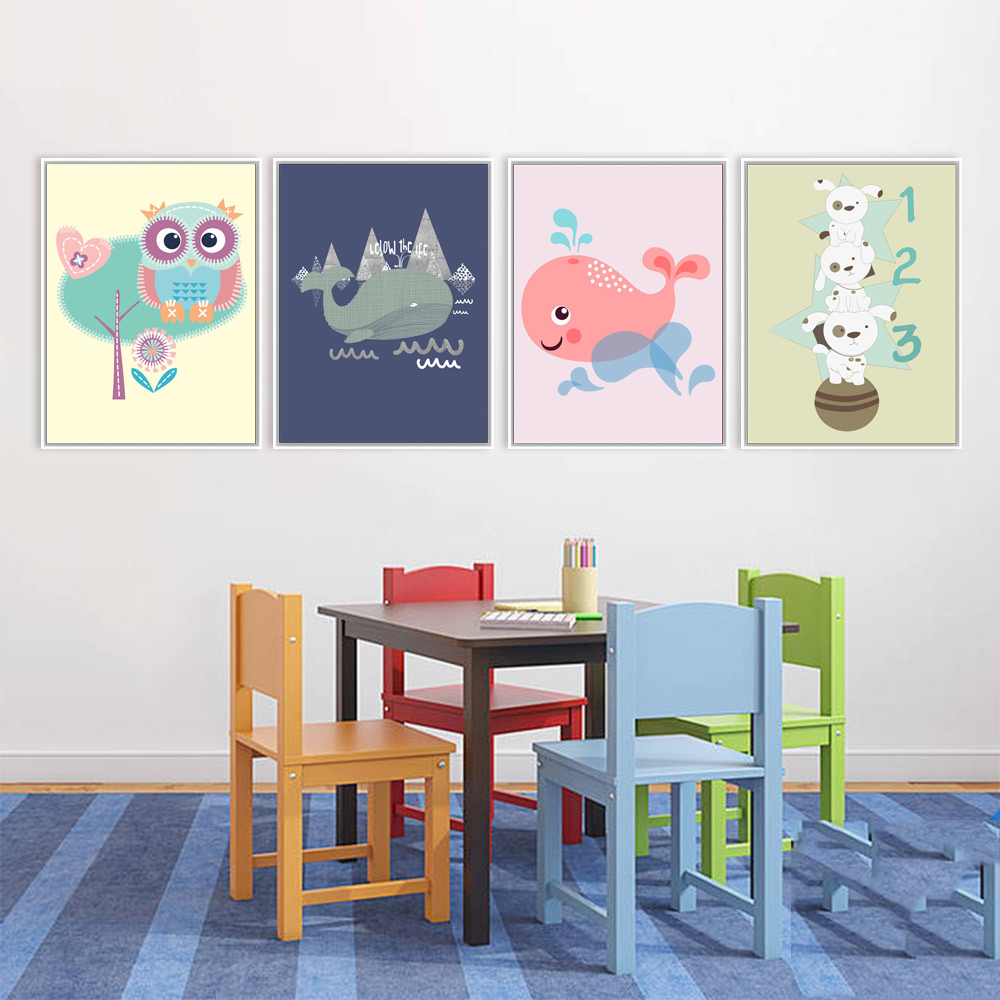 Mix 5 Designs Abstract Paintings Cute Animal Owl Wall Stickers For Kids Rooms Baby Room Poster Home Decor Canvas Painting