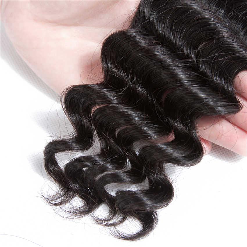 Alidoremi бразильские свободные глубокая волна с детскими волосами 3 пучка с фронтальным шнурком закрытие волос пучки плетения не Remy человеческие волосы