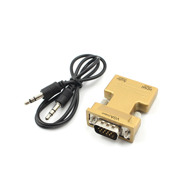 New HDMI Female to VGA Male Converter+Audio Adapter Cable 1080P Signal Output