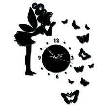 DIY Angel Wall Clock 3D Fairy Wall Sticker Mural Clock Modern Design Picture Clocks Fairy DIY Creative Gifts Modern Watch цена в Москве и Питере
