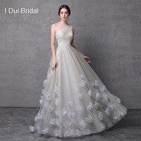 One Shoulder Handmade Flower Evening Dresses Tulle Floral Decoration Formal Dress