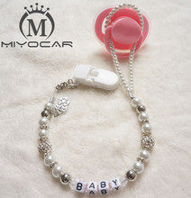 MIYOCAR Personalised -Any name Customized Bling rhinestone pacifier clips/soother chain holder Dummy clip/Teethers clip for baby
