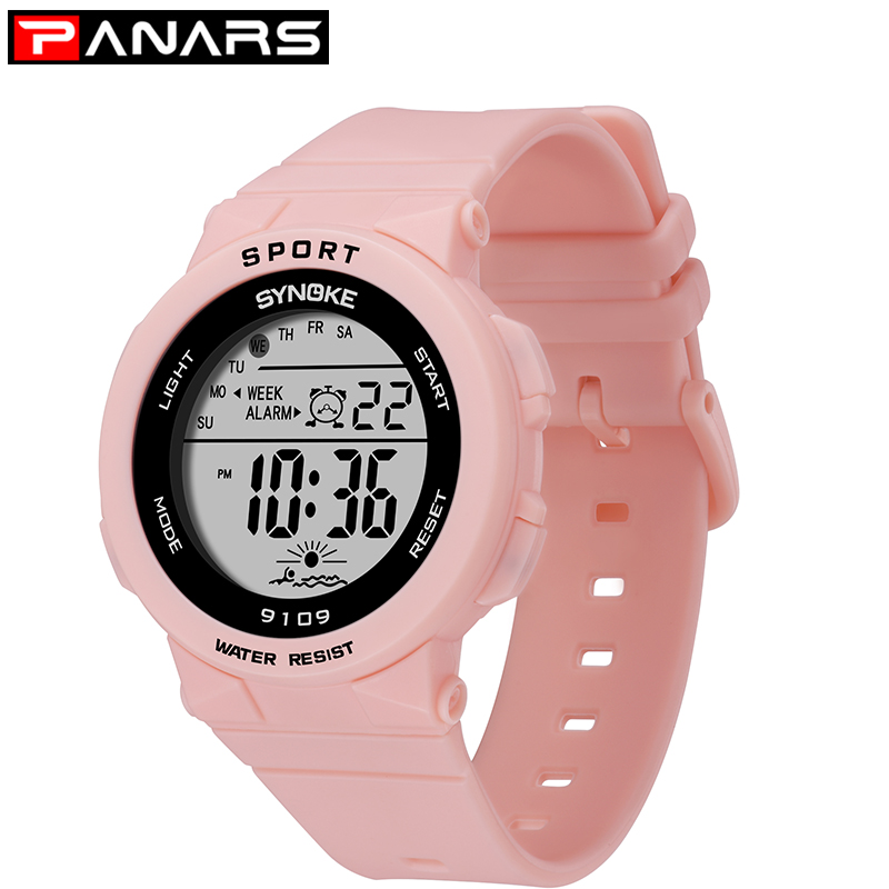 PANARS Fashion Ladies Watches Boys Girls Students Digital Sports Women Watch 50m Waterproof Wristwatch Alarm Relogio Feminino