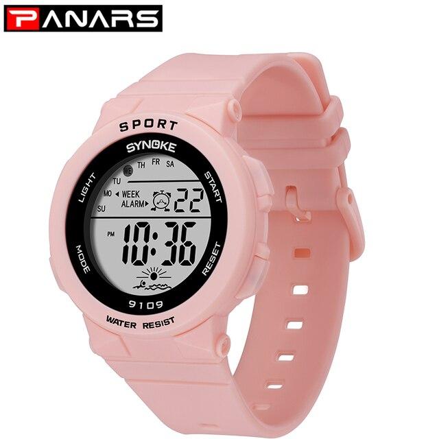 PANARS mode dames montres garçons filles étudiants numérique sport femmes montre 50m étanche montre bracelet alarme Relogio Feminino