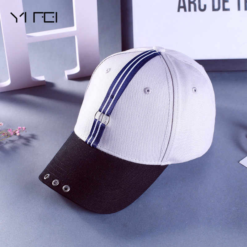 Mens Snapback Hats Solid Color Iron Ring Decor Cotton Hats Women Kpop  Simple Baseball Caps Unisex dd075c4db1
