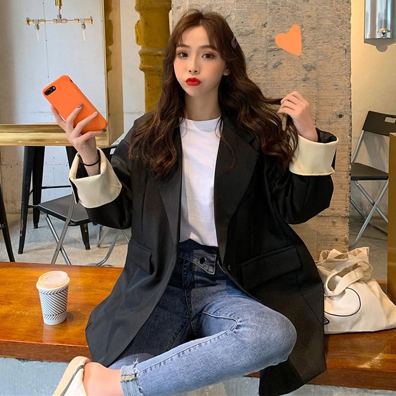 Korean Style 2019 Women Blazers and Jackets Oversize Casual Chaqueta Mujer Black Blazer for S-XL jeans con blazer mujer
