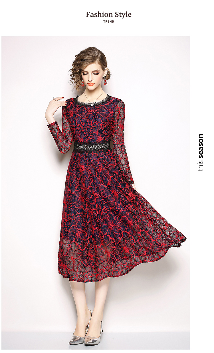49458e5c1 Retro Long Sleeved Lace Midi Dress Vestidos Invierno Autumn Red Party  Glitter Dress Robe Femme Robe Moulante K6621