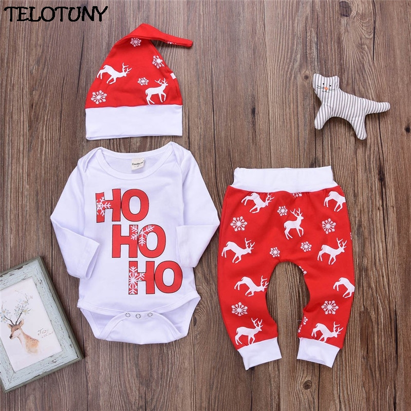 2017 FASHION Xmas Newborn Infant Baby Boy Girl Romper Tops+Pants Christmas Deer Outfits Set Y110930 thl t11 android 4 2 3g phablet with 5 0 inch hd screen mtk6592w 1 7ghz octa core 2gb ram 16gb rom gps otg nfc dual cameras