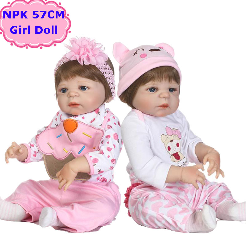 NPK Brand New 57CM Reborn Babies Girls Doll Lifelike Full Silicone Body Sweet Cute Bebe Alive Menina Toy Kids Play House Bonecea health non toxic bebe reborn realista new born full body silicone reborn baby dolls girls lifelike doll play house toy gift doll