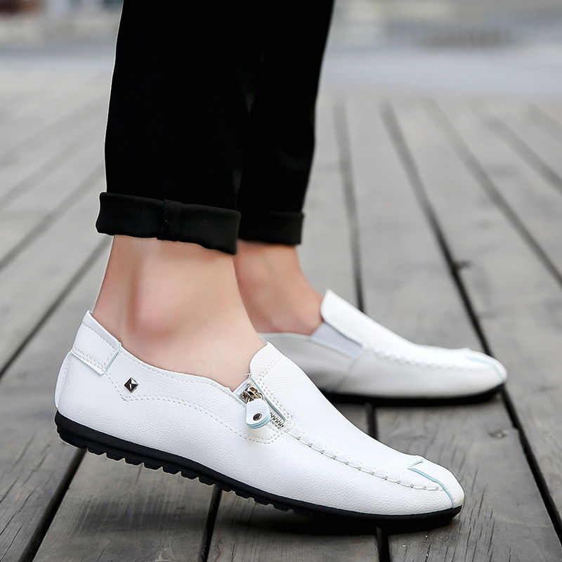 2019 New Pu Mens Peas Shoes Set Feet Breathable Mens Shoes Casual Comfortable Lok Fu Shoes Driving Black Leather Casual Shoes Men's Casual Shoes Men's Shoes