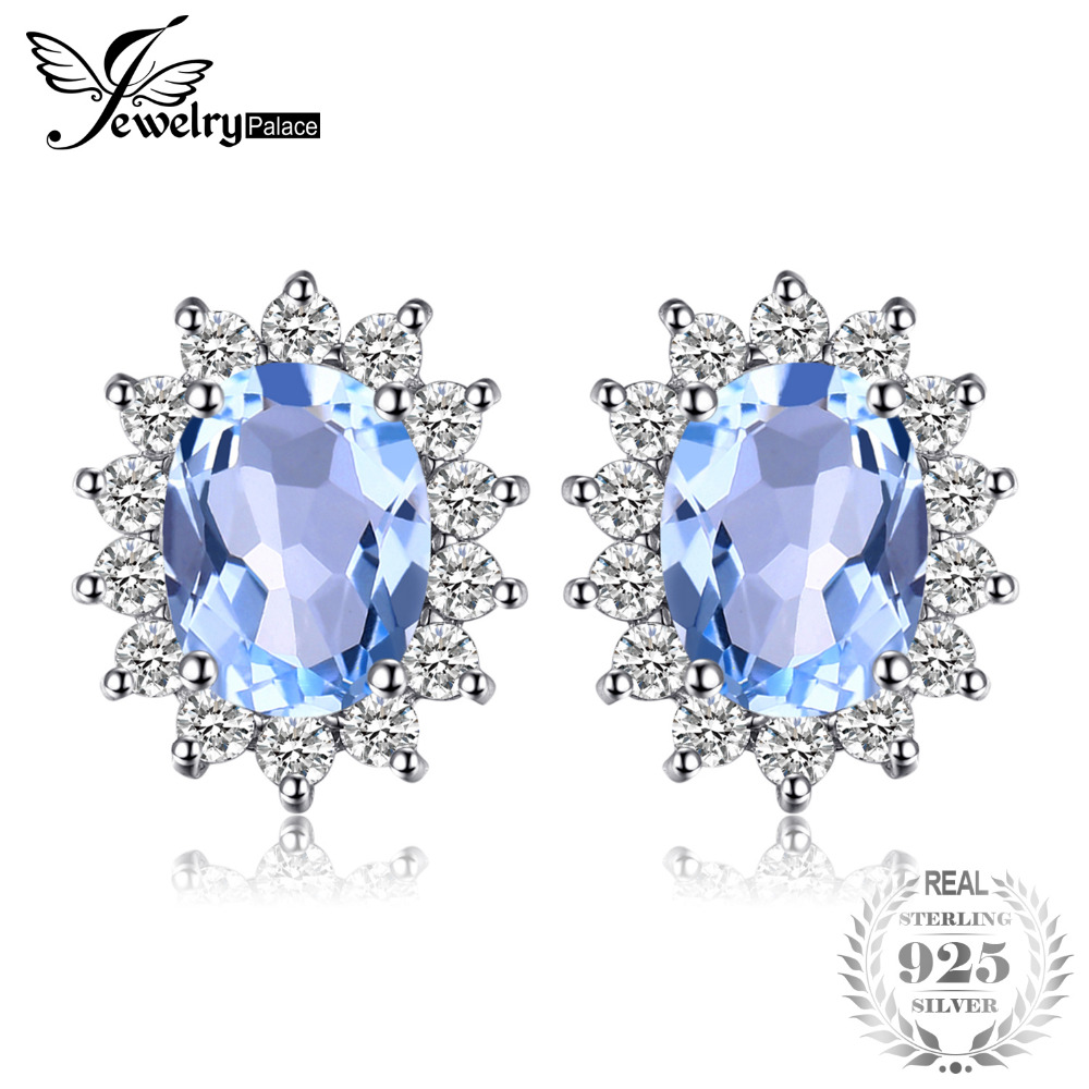 JewelryPalace Natural Topaz Gemstone Earrings Stud Genuine 925 Sterling Silver Jewelry  Charm Gift For Girls Brand New Jewelry