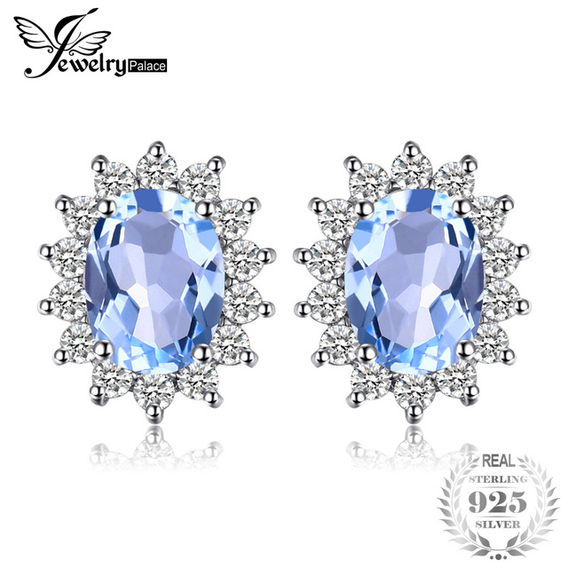 JewelryPalace Natural Topaz Gemstone Earrings Stud Genuine 925 Sterling Silver J