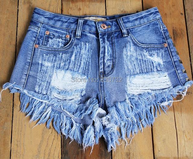 2017 Women's Fashion Brand Vintage Tassel Rivet Ripped Loose High Waisted Short Jeans Punk Sexy Hot Woman Denim Shorts 1993