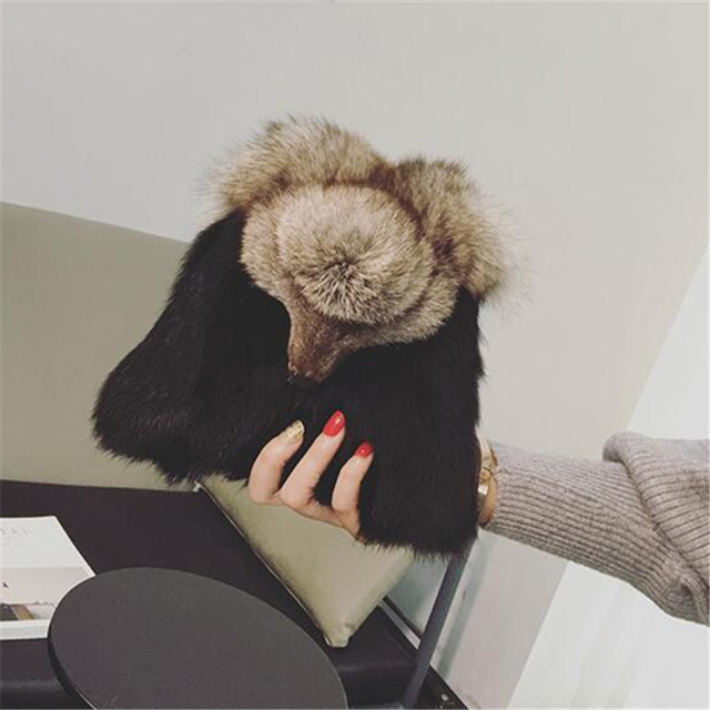 Fashion women Handbags Rabbit hair women shoulder Bag Cute Fox Head Causal Clutch bag Small chain Crossbody Purse Bolsos Mujer