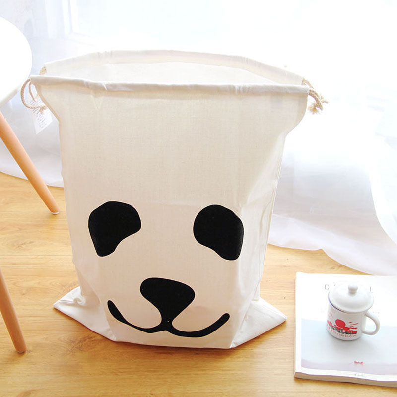 Cute Panda Cloud Thickened Canvas Storage Bags Laundry Hanging Drawstring Bag Children Room Organizer For Toy And Baby Clothing