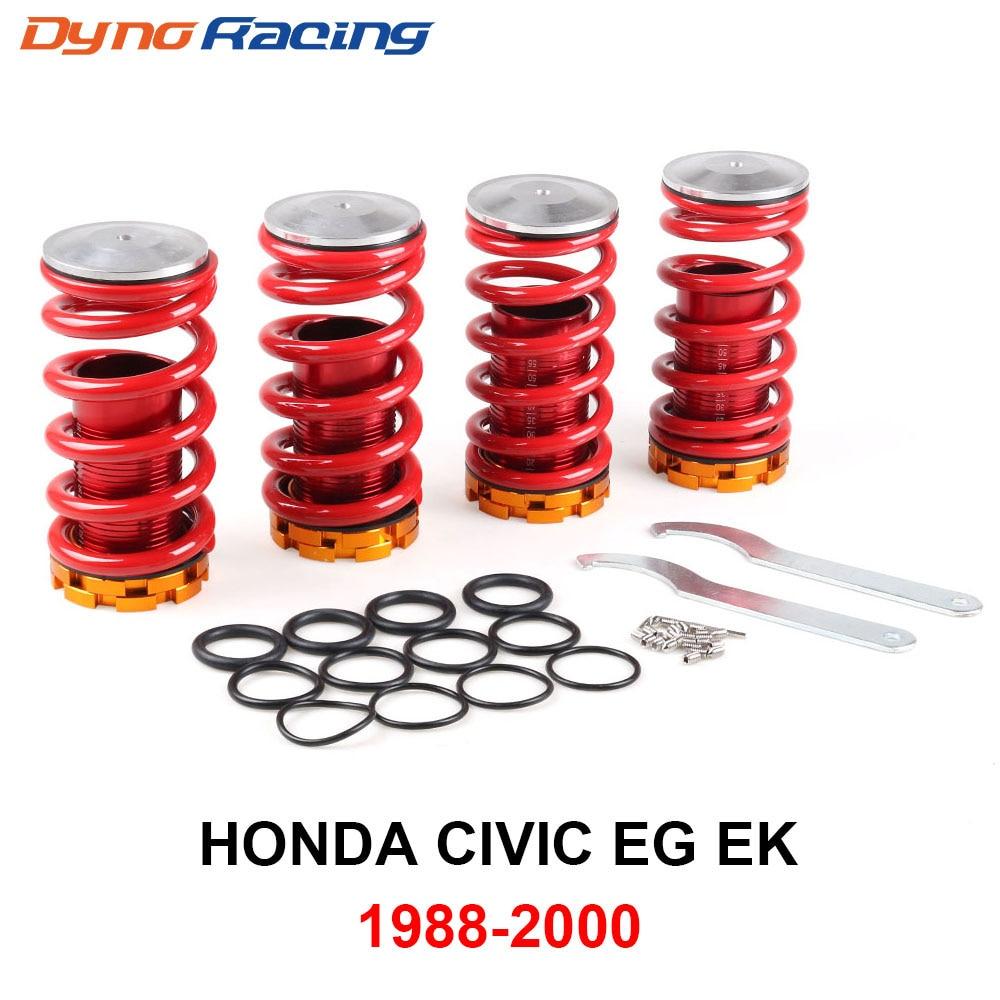 Black Springs Silver Sleeves For Civic//CRX//Del Sol//Integra Aluminum Scaled Coilover Kit Set EG EK DC