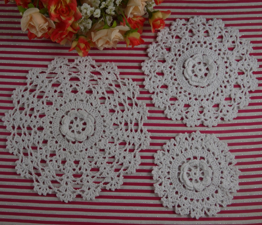 Handmade Crochet Doilies Pattern Retro Round Rose Mat 20pcs Home