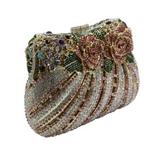 Bling Rose Clutch Purse Women Flower Rhinestone Crystal Evening Bag