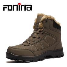 FONIRRA Plus Size 39-47 Waterproof Mountain Boots Hiking Men Plush Fur Sewing Rubber Ankle Boots Warm Winter Casual Shoes 930