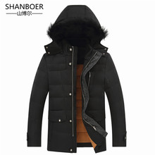 2018 espesar Invierno Caliente pato abajo chaqueta para hombres piel Parkas Abrigo con capucha más tamaño abrigo de estilo occidental