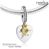 14K Gold Beads 925 Sterling Silver Love You Forever Heart Dangle Charms for Jewelry Making Fit Luxury Brand Bracelets kralen