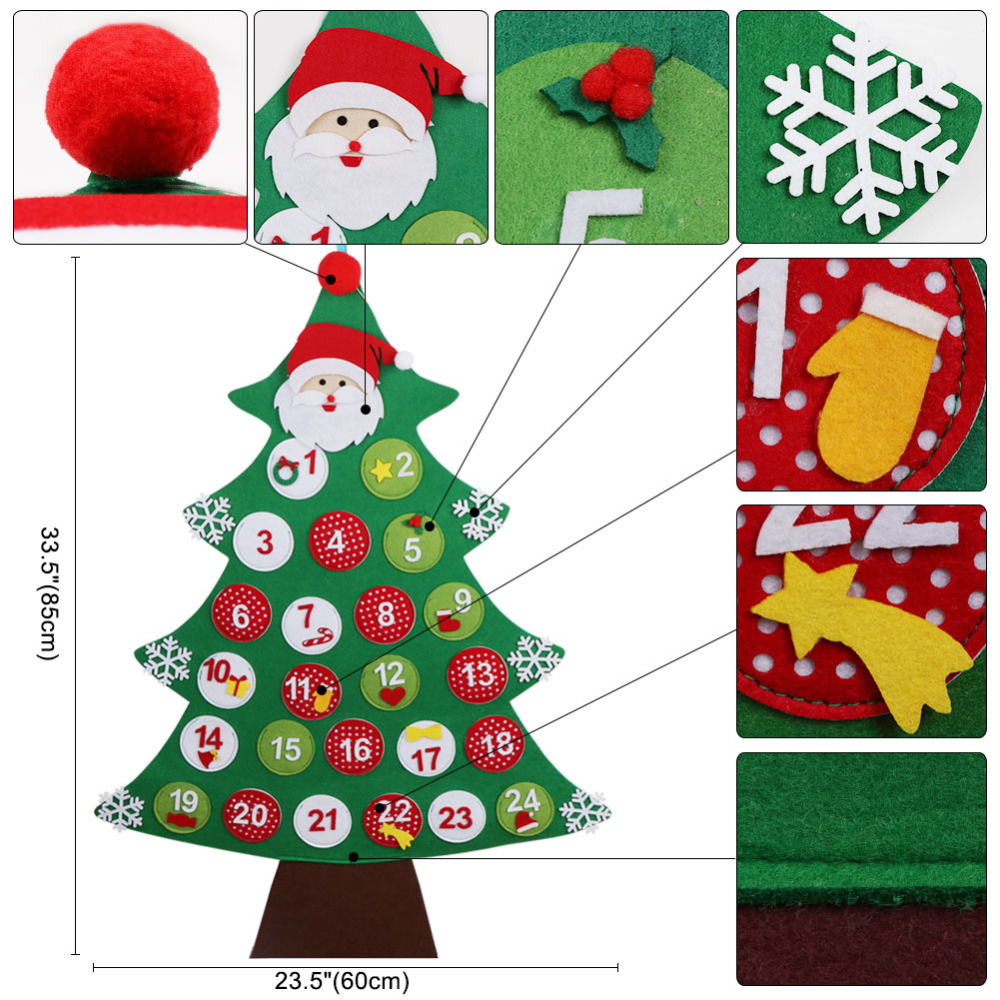 ourwarm christmas countdown calendar new year decor for home santa claus felt xmas advent calendar christmas hanging decorations in advent calendars from