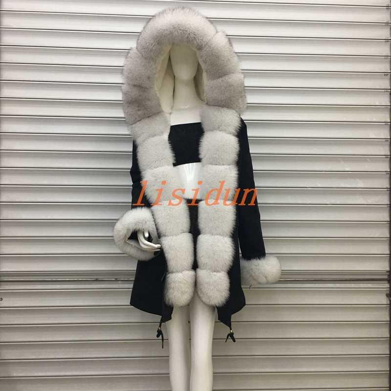2018 manteau de fourrure de renard, manteau, robe, vêtements pour femmes, longue doublure de cheveux, Parker, et loutre fourrure de lapin nouveau manteau de fourrure