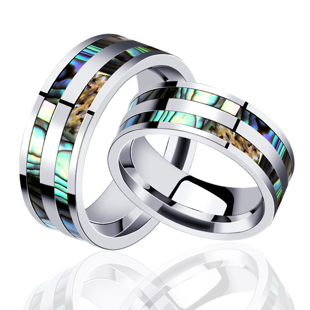 Male Wedding Bands.Double Stripe Colourful Tortoiseshell Wedding Band Ring For Men 8mm Shell Grain Titanium Steel Male Wedding Ring Jewelry Bijoux In Wedding Bands From