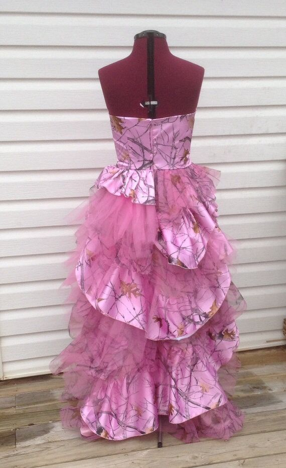 Amazing Sweetheart Pink Camo Prom Dress Tiered Camouflage New ...