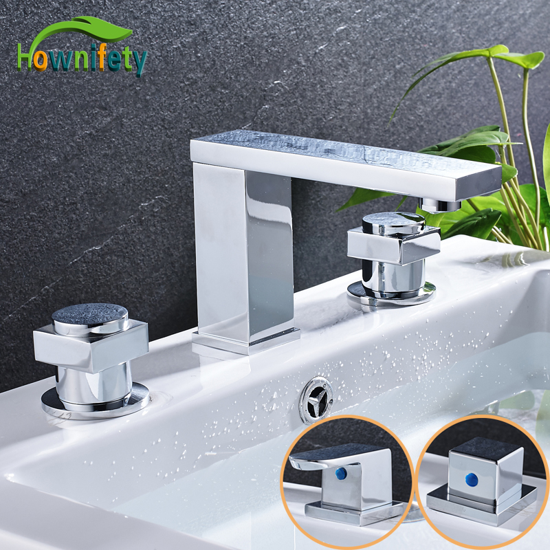 Solid Brass Widespread 3pcs Bathroom Basin Faucet Double Handles Mixer Tap Chrome Polished стоимость