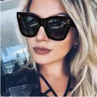Date 2017 fashion square lunettes de soleil femmes cat eye marque de luxe grand noir soleil lunettes miroir nuances lunette femme oculos