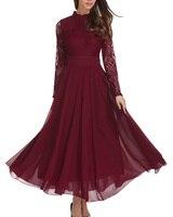Roiiiプラスサイズs-4xlレディース女性vestidos結婚式のブライドメイドドレス春夏レースワークカジュアルスリムワインロングドレ