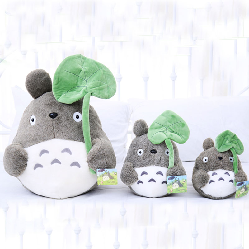 25cm cute cat plush toy,totoro plush doll, totoro with lotus leaf,kids toys,small pendant,best gift for children 35cm 45cm 55cm