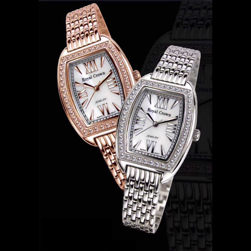Prong Setting CZ Women's Watch Mother-of-pearl  Fine Lady Hours Stainless Steel Bracelet Clock Girl's Gift Royal Crown Box