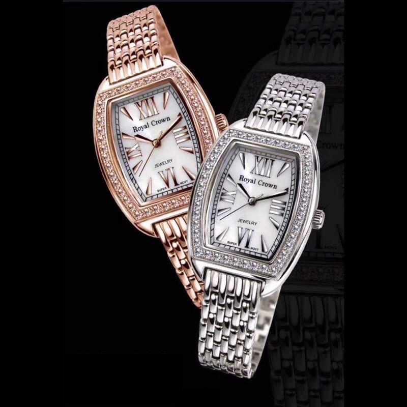 Pulseira de Aço Presente da Menina Prong Configuração Relógio Feminino Mãe-de-pérola Senhora Fina Horas Inoxidável Coroa Real Caixa cz