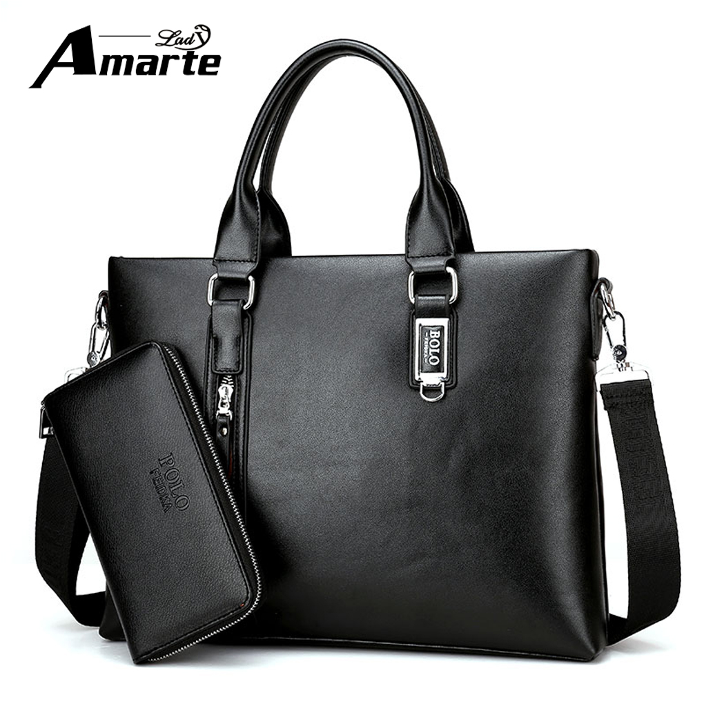 цены Amarte 2018 Classic Business Man Briefcase Brand Computer Laptop Shoulder Bag Leather Men's Handbag Messenger Bags Men Bag Hot