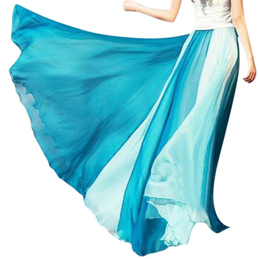 Fashion Women's skirt skirts womens jupe femme faldas mujer Full Circle Skirt Flowing Color Matching Chiffon Bohemian Skirt Z4
