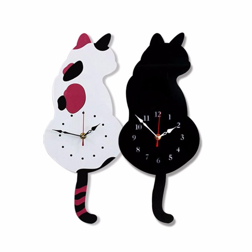 2018 Fashion Cute Cat Shape Wall Clock Household Living Room Acrylic Wagging Tail Wall Clocks Home Decoration