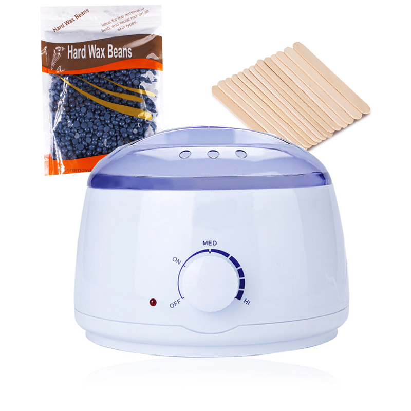 Wax Heater Warmer Epilator Hair Removal Paraffin Body Electric Depilatory With 300g Wax Beans +12pcs Wooden Stick Waxing Set