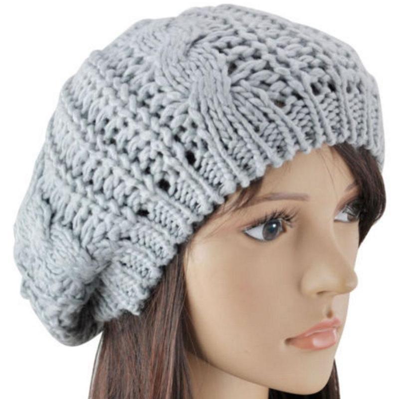 Fashion Warm Winter Women Beret Braided Baggy Knit Crochet   Beanie   Hat Ski Cap Thick Female   Skullies     Beanies