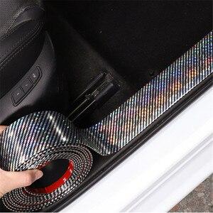 Image 1 - Auto Aufkleber Laser 5D Carbon Faser Gummi Styling Tür Sill Protector Waren Für KIA Audi Mazda Ford Hyundai etc Zubehör